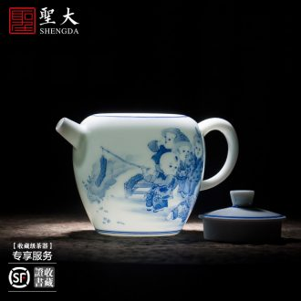 Holy big teapot hand-painted ceramic kung fu king of blue and white peony step style bamboo stone double finches teapot of jingdezhen tea service
