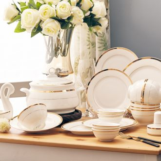 The dishes suit household jingdezhen high-grade bone China tableware suit Simple dishes chopsticks continental China