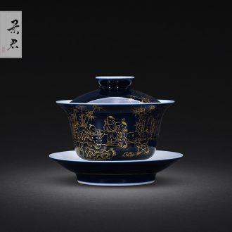Jingdezhen JingJun enamel teapot live tiancheng hand-painted ceramic teapot single pot home little teapot