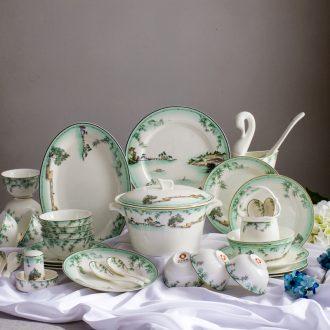 Far industry - the colour bone porcelain tableware suit Jingdezhen high-end dishes ceramic dishes porcelain pure color gift set