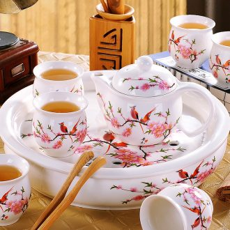 Blower, tea set Contemporary and contracted household of Chinese style of jingdezhen kung fu tea cups Ceramic lid bowl