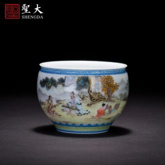St the ceramic kung fu tea master cup hand-painted pastel landscape beam sample tea cup mouth full manual of jingdezhen tea service