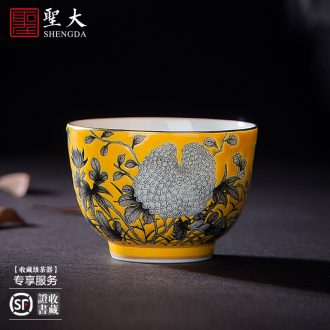 Holy big ceramic kung fu tea sample tea cup ji red colored enamel paint cup for cup all hand of jingdezhen tea service