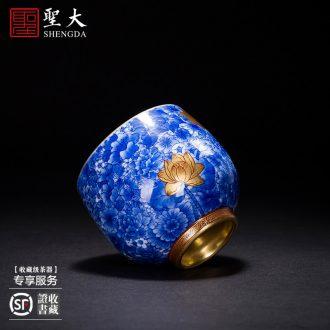 St the ceramic kung fu tea master cup colored enamel paint canopy treasure phase sample tea cup jingdezhen tea cup