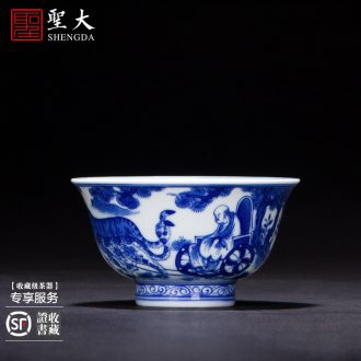 The big blue and white color lotus pond (4 cup sample tea cup hand-painted ceramic kung fu king single cup cup of jingdezhen tea service