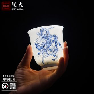 """Sample tea cup personal glass ceramics jingdezhen blue and white """"five tiger general set of hand-painted cup all hand kung fu tea cups"""
