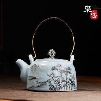 Jingdezhen blue and white ceramic sample tea cup under the glaze hand-painted archaize kung fu tea lotus flower master cup single cup
