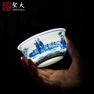 St the ceramic kung fu tea master cup hand-painted pastel work peony grains sample tea cup full of jingdezhen tea cup