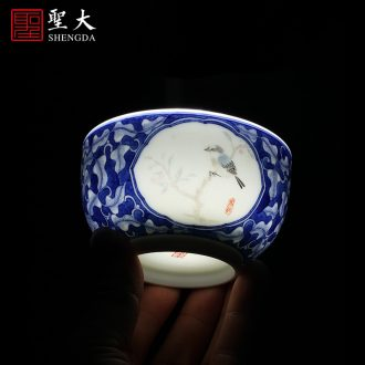Holy big cup sample tea cup hand-painted ceramic kungfu pastel dai jade buried incense fragrance-smelling cup of jingdezhen tea service master cup