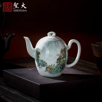 Holy big ceramic kung fu tea set eight head of a complete set of jingdezhen blue and white color bucket antique hand-painted figure set of tureen household