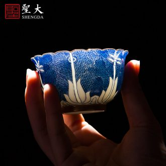 Kung fu tea ceramic masters cup drawing calligraphy sample tea cup all hand small cups tea cup of jingdezhen tea service