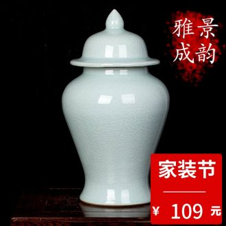 Jingdezhen ceramic hand-painted lotus flower vase of new Chinese style household living room TV ark adornment furnishing articles