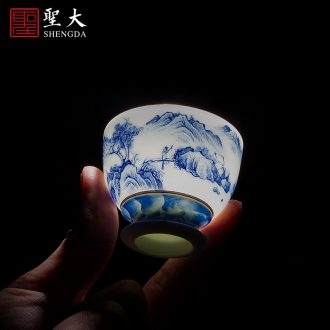 St step big ceramic bearing all hand pot hand-painted imitation king jingdezhen blue and white square tea tray kung fu tea tray the teapot
