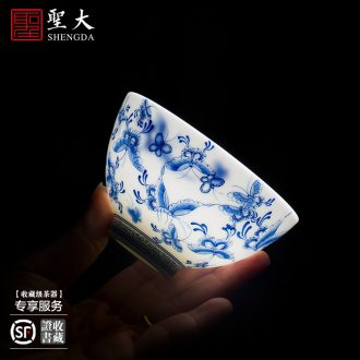 Holy big ceramic all hand sample tea cup hand-painted jingdezhen blue and white best butterfly tattoo master cup kung fu tea cups