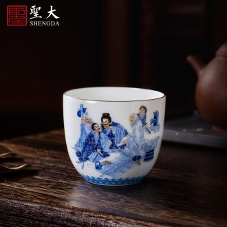 The big ceramic curios Hand draw heavy blue color bucket figure masters cup all hand jingdezhen tea sample tea cup of tea