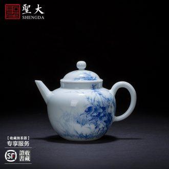 Holy big ceramic kung fu tea pot jingdezhen blue and white antique hand-painted archaize grain teapot full manual single pot of tea