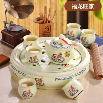 Jingdezhen antique collection 8 head double colored enamel tea set Imperial pastel principal Tea tray cup suit the teapot