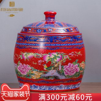 Jingdezhen ceramics with cover barrel ricer box tea oil cylinder jars at the end of the cylinder tank receives 50 kg 100 jins 30 kg