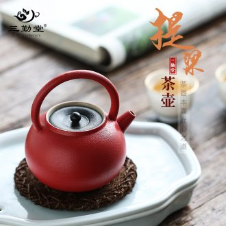 The three frequently kung fu ceramic cups Jingdezhen masters cup tea poly incense single drum sample tea cup hand-painted lotus cup