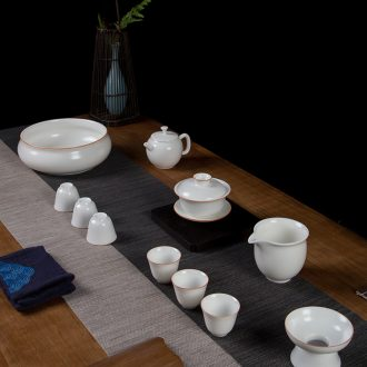 Jingdezhen kung fu tea set Contemporary and contracted household of Chinese style white jade ceramic tea pot lid bowl cups