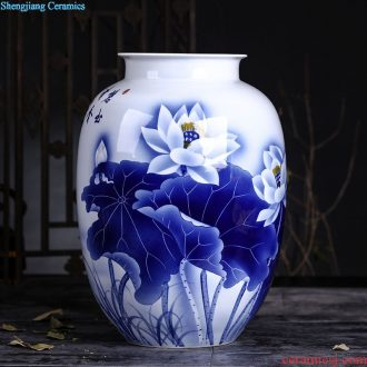 Hand painted small mouth of jingdezhen blue and white porcelain ceramic vase classical household porcelain rich ancient frame wine bottle decoration furnishing articles