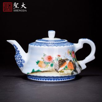 The big ceramic curios Hand-painted colors auspicious pot of flowers and girder are all hand jingdezhen tea kungfu tea pot