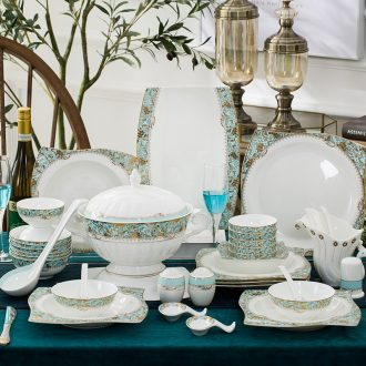 High-grade jingdezhen porcelain suits Home dishes suit 60 skull porcelain tableware dishes plates wedding gifts