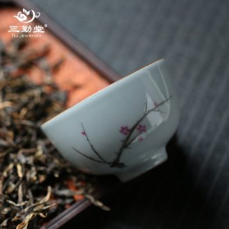 Three regular class six degrees of small sample tea cup of jingdezhen ceramic cups kung fu tea zen master cup single cup S42113
