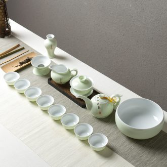 Tea set household contracted and contemporary jingdezhen 6 cups coarse pottery teapot tea tray Japanese kung fu tea set