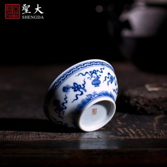 Holy big ceramic curios kung fu masters cup heavy hand-painted alum cups red paint wulong grain drum abdomen cup of jingdezhen