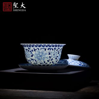 The large ceramic three tureen teacups hand-painted color ink hill high water is long tea bowl full manual of jingdezhen tea service