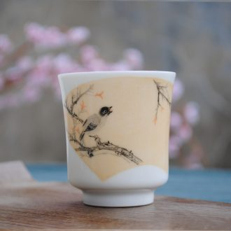Jingdezhen ceramic tea set kung fu teacups hand-painted padding thin sample tea cup enamel colour thread bowl master cup single cup
