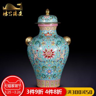 Jingdezhen ceramics furnishing articles hand-painted spring arrive at four dried flower vase planting sitting room adornment household table decoration