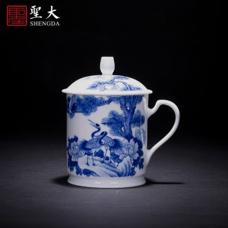 Holy big ceramic kung fu masters cup hand-painted porcelain cups of ice MeiWen medallion landscape lamp cup of jingdezhen tea service