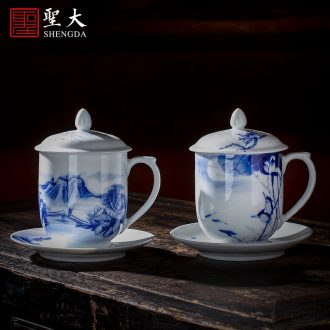 "Holy big ceramic brush pot large hand-painted heavy new colour wufu figure hair brush pot ""four China jingdezhen"