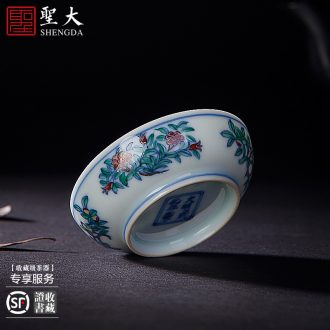Santa teacups hand-painted ceramic curios kungfu heavy color ink best crane figure cup all hand of jingdezhen tea service master