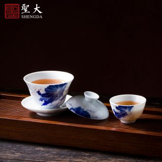 Holy big ceramic pot of tea tray bearing hand-painted imitation Ming blue and white sea dragon fold along the disc dry foam plate of jingdezhen tea service