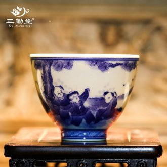 Three frequently hall jingdezhen ceramic sample tea cup your kiln kung fu tea cups master cup manually shut type cup S44002