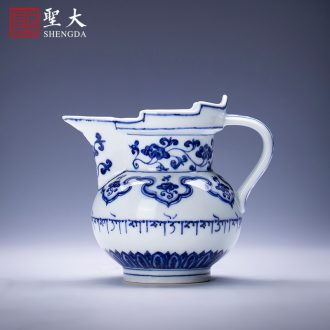 Holy big ceramic tea pot hand-painted cui very heavy ink in the waterfall lives jingdezhen kung fu tea set figure storage tanks