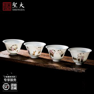 St large ceramic handmade all three tea tureen hand-painted jingdezhen blue and white sea kung fu tea cups