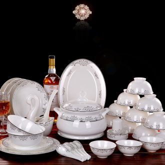 Delin bone porcelain tableware suit 56 bowl sets phnom penh dish dish spoon head Jingdezhen porcelain microwave use