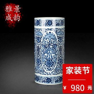 Blue and white porcelain of jingdezhen ceramics phoenix figure the general pot of home sitting room ground adornment porcelain crafts