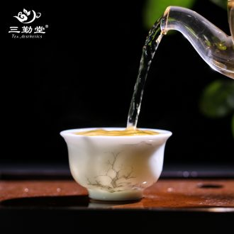 Three frequently hall jingdezhen ceramic kung fu tea cups manual sweet white glazed sample tea cup cup single cup S41020 master