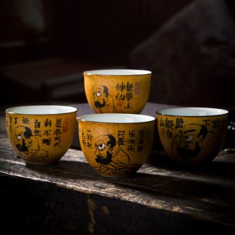 The big blue and white LuYan masters cup jingdezhen porcelain hat cup hand-painted archaize kung fu tea tea sample tea cup