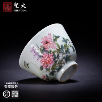 Holy big pure hand-painted ceramic masters cup alum red paint set of spring, summer, autumn and winter cup cup sample tea cup of jingdezhen tea service