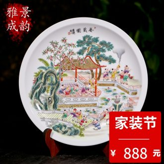 The new jingdezhen ceramics hand-painted porcelain decoration painting landscapes hang dish Zhang Bingxiang furnishing articles at home