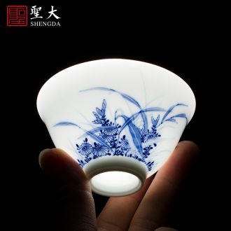 Holy big ceramic tureen hand-painted blue and white porcelain cups do only three cups of tea bowl of jingdezhen kung fu tea set by hand