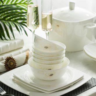 High-grade bone China tableware suit Jingdezhen porcelain bowl plates 56 head of European style phnom penh gift set far industry