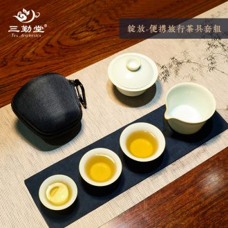 Three frequently hall of a complete set of tea set Jingdezhen ceramic hand-painted kung fu tea tureen 6 head TZS023 fair mug