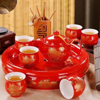 Your kiln was suit household contracted jingdezhen ceramic open the slice your porcelain teapot teacup of a complete set of Chinese kung fu